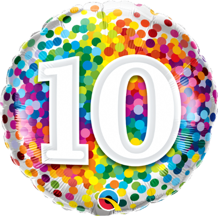 10th Birthday Colourful Dots Foil Balloon